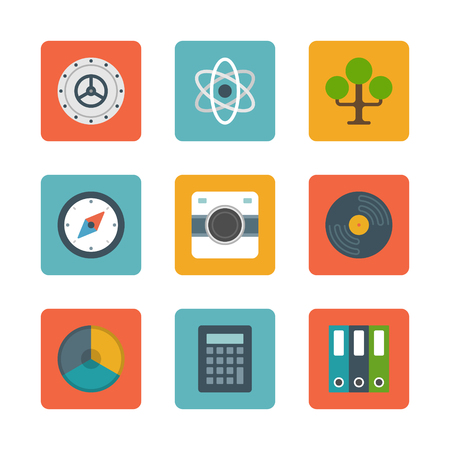 bank records: Flat design icons, Tree, Safe Door, Science, Compass, Photo Camera, Record, Graph Chart, Calculator, File Folders. Vector business symbols for website and promotion banners.