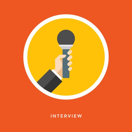 interview: Flat design vector business illustration concept Interview hand holding microphone for website and promotion banners.