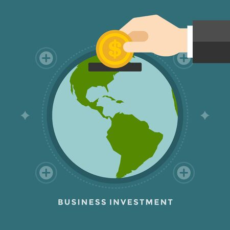 hand globe: Flat design vector business illustration concept Investment hand hold money coin for website and promotion banners.