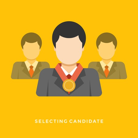 candidate: Flat design vector business illustration concept Selecting candidate businessman with medal for website and promotion banners. Illustration