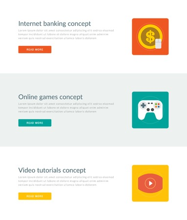 money online: Website Headers or Promotion Banners Templates and Flat Icons Design. Internet banking money, On-line games gamepad, Video tutorials play button. Vector Illustration.