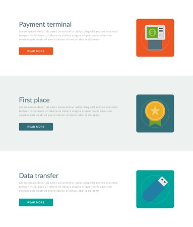 first place: Website Headers or Promotion Banners Templates and Flat Icons Design. Payment terminal, First place medal, Data transfer. Vector Illustration. Illustration