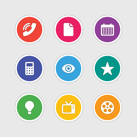 Estilo de diseño de la señal Material de iconos del vector y símbolos de documento, llamada telefónica, calendario, calculadora, Estrella, lámpara, TV, Video, Ojo. Elementos para el sitio web, banners web, aplicaciones móviles, ui y otro diseño. Foto de archivo - 37009405