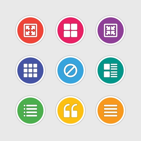 resize: Material design style icons vector sign and symbols Zoom, Resize, Gallery, Quote, Menu. Elements for website, web banners, mobile apps, ui and other design. Illustration