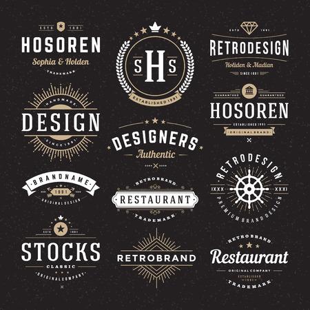 ビンテージ: レトロなヴィンテージ徽章やロゴタイプを設定します。ベクター デザイン要素、ビジネス印、ロゴ、アイデンティティ、ラベル、バッジおよびオブジェクト。