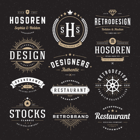 Retro Vintage Insignias or Logotypes set. Vector design elements, business signs, logos, identity, labels, badges and objects. Reklamní fotografie - 38327712