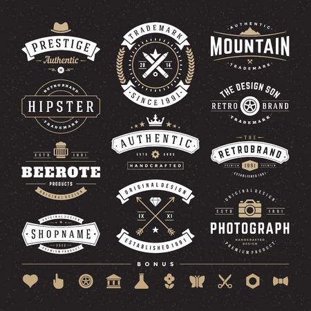 insignias: Retro Insignias o iconos de la vendimia fijados. Vectores