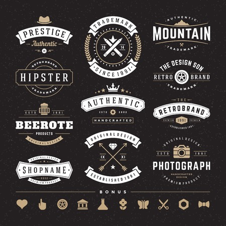 crown logo: Retro Vintage Insignias or icons set.