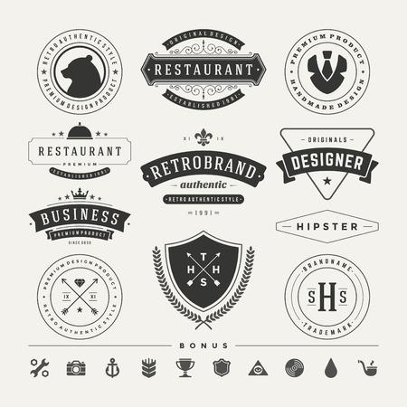 insignias: Retro Vintage Insignias or icons set.