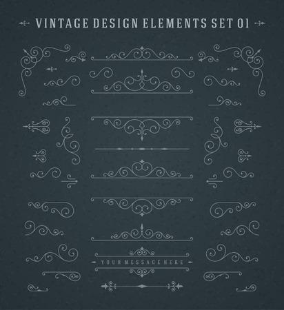 Vintage Vector Swirls Ornaments Decorations Design Elements on Chalkboard.