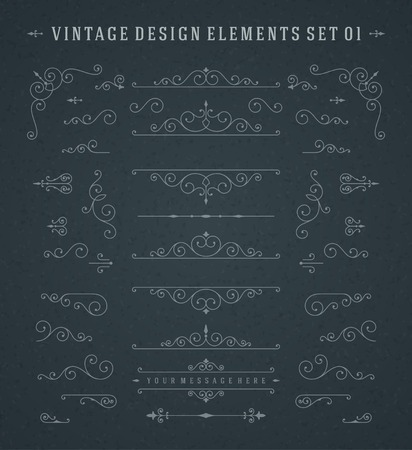 Vintage Vector Swirls Ornaments Decorations Design Elements on Chalkboard.
