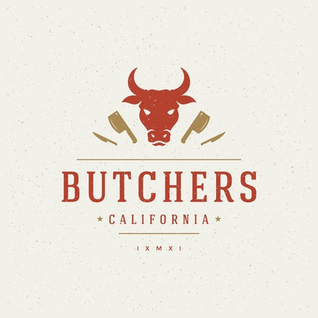 Butcher Shop Design Element in Vintage Style for icon. Reklamní fotografie - 37355135