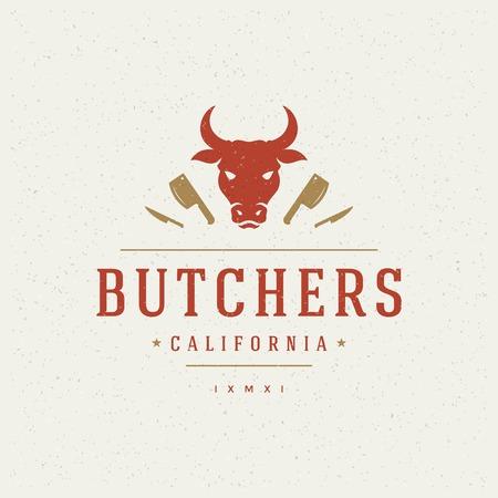 logo de comida: Carnicería elemento de diseño de estilo vintage para el icono.
