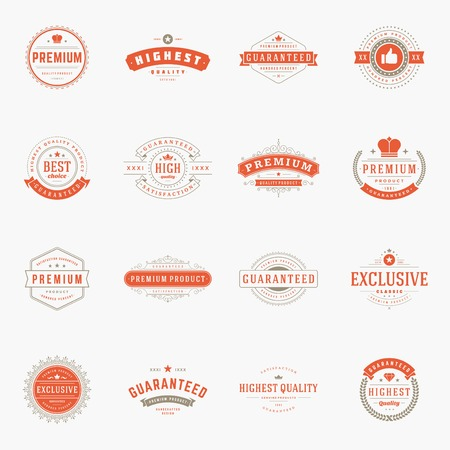 quality: Retro Vintage Premium Quality Labels set. Vector design elements, signs, icons.