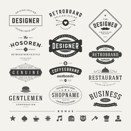 レトロなビンテージ徽章またはロゴを設定します。ベクトルのデザイン要素、ビジネス印、ロゴ、アイデンティティ、ラベル、バッジおよびオブジ