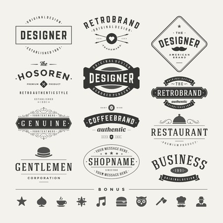 Retro Vintage Insignias or Logotypes set. Vector design elements, business signs, logos, identity, labels, badges and objects. Reklamní fotografie - 37356531