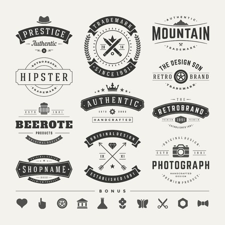 design: Retro Vintage Insignias or Logotypes set. Vector design elements, business signs, logos, identity, labels, badges and objects.