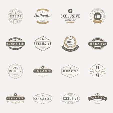 sello: Retro Vintage Calidad Premium etiquetas. Elementos de diseño vectorial, letreros, logotipos, identidad, etiquetas, escudos, logotipos, pegatinas y sellos. Satisfacción, garantizado, más alta, la mejor opción y otro texto.