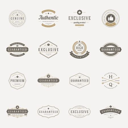 texts: Retro Vintage Premium Quality Labels set. Vector design elements, signs, logos, identity, labels, badges, logotypes, stickers and stamps. Satisfaction, Guaranteed, Highest, Best choice and other text.