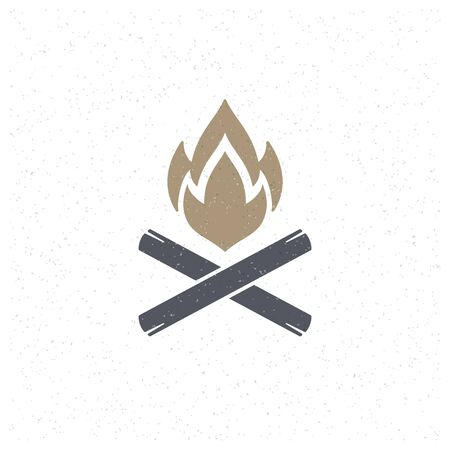 brand activity: Bonfire flame Design Element in Vintage Style for icon.
