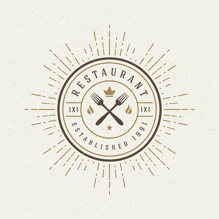 Restaurant Shop Design Element in Vintage Style. Vector
