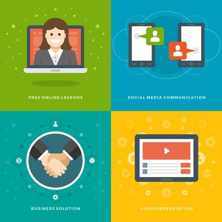 dersleri: Web Sitesi Tanıtım Banner Şablonlar ve Flat Icons Tasarım. On-line dersleri, Sosyal medya, iş çözümü, Video sunumu. Vektör Çizimler ayarlayın.