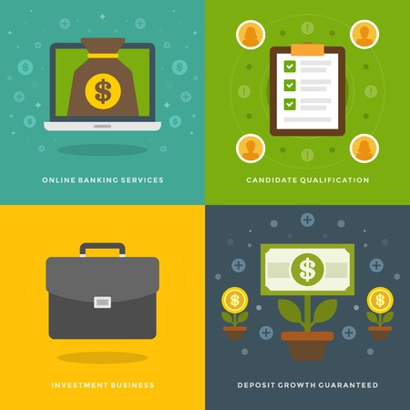 e money: Website Promotion Banners Templates and Flat Icons Design. On-line banking services, Candidate qualification, Business, Deposit Growth. Vector Illustrations set.
