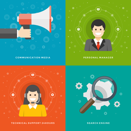 technical support: Website Promotion Banners Templates and Flat Icons Design. Communication media, Personal manager, Technical support, Search engine. Vector Illustrations set. Illustration