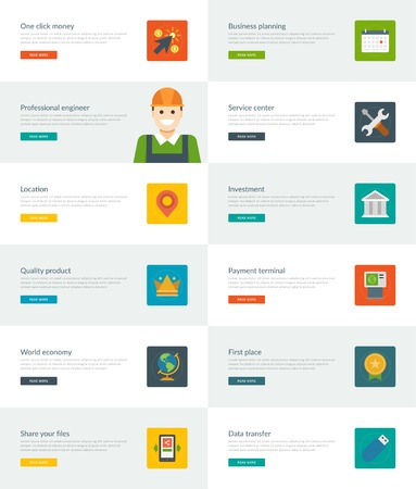 communication tools: Website Headers or Promotion Banners Templates and Flat Icons Design. Business planning calendar, Service center tools, Investment building. Vector Illustration.