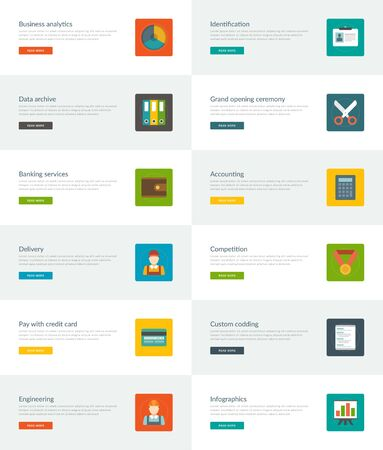 e data: Website Headers or Promotion Banners Templates and Flat Icons Design. Analytics chart, Data archive folders, Banking services purse. Vector Illustration. Illustration
