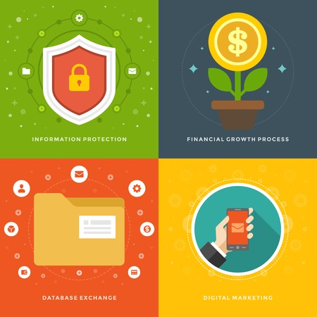 banking information: Website Promotion Banners Templates and Flat Icons Design. Information protection, Financial growth, Database exchange, Digital marketing. Vector Illustrations set.