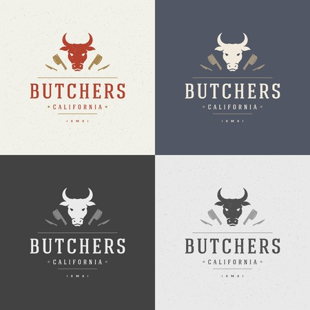 cows: Butcher Shop Design Element in Vintage Style for  Label, Badge, T-shirts and other design. Cow face and knife retro vector illustration.