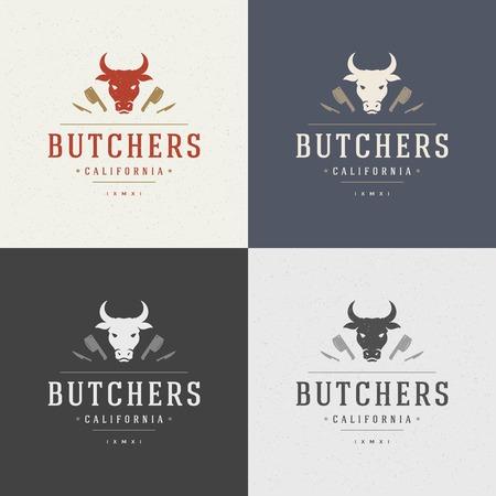 carnicero: Carnicería elemento de diseño de estilo vintage para la etiqueta, insignia, T-shirts y otro diseño. Cara de la vaca y el cuchillo ilustración retro vector.