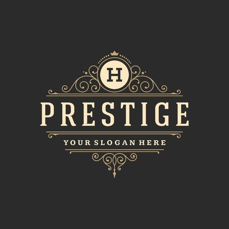 vintage: Luksusowe szablon ornament rozkwita kaligraficzne eleganckie linie. Znak firm, restauracji, tożsamości dla Royalty, Butik, Cafe, Hotel, heraldyczne, Biżuteria, moda i innych ilustracji wektorowych Ilustracja