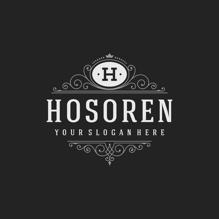 高級テンプレートは、カリグラフィのエレガントな飾り線を活気づきます。ビジネス署名、レストラン、ロイヤリティ、ブティック、カフェ、ホテ  イラスト・ベクター素材