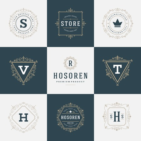 crest: Luxury template flourishes calligraphic elegant ornament lines. Business sign, identity for Restaurant, Royalty, Boutique, Cafe, Hotel, Heraldic, Jewelry, Fashion and other vector illustration