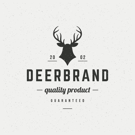 Deer head Design Element in Vintage Style for  Label, Badge, T-shirts and other design. Hunting club Retro vector illustration.