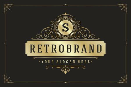 Flourishes calligraphic monogram emblem template. Luxury elegant frame ornament line design vector illustration. Good for Royal sign, Restaurant, Boutique, Cafe, Hotel, Heraldic, Jewelry, Fashion