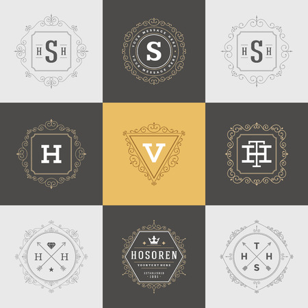luxury template: Set Luxury template flourishes calligraphic elegant ornament lines. Business sign, identity for Restaurant, Royalty, Boutique, Hotel, Heraldic, Jewelry, Fashion and other vector illustration