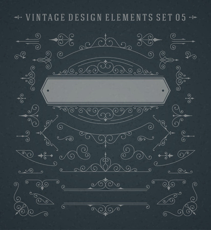 Vintage Vector Swirls Ornaments Decorations Design Elements on Chalkboard. Flourishes calligraphic combinations retro design for Invitations, Posters, Badges, and other design. Ilustração