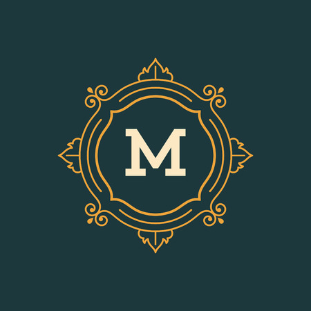 the royal: Flourishes calligraphic monogram emblem template. Luxury elegant frame ornament line design vector illustration. Good for Royal sign, Restaurant, Boutique, Cafe, Hotel, Heraldic, Jewelry, Fashion