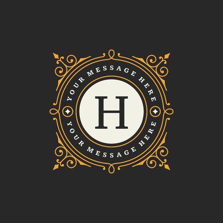 boutique hotel: Flourishes caligr�ficos plantilla monograma emblema. Lujo elegante del ornamento del marco de dise�o ilustraci�n l�nea vectorial. Bueno para Royal signo, Restaurante, Boutique, Caf�, Hotel, her�ldico, joyer�a, moda Vectores