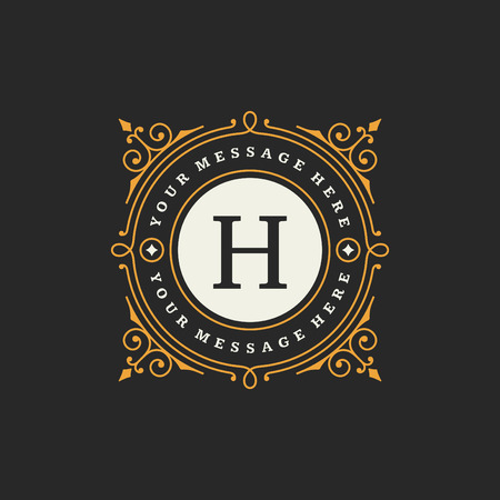 antik: Flourishes kalliMonogrammEmblem Vorlage. Luxus elegant Rahmenverzierung Line-Design Vektor-Illustration. Gut für Royal Zeichen, Restaurant, Boutique, Café, Hotel, heraldischen, Schmuck, Mode Illustration