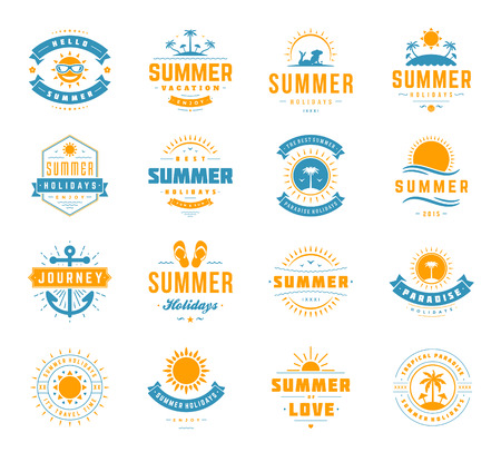 Summer holidays labels design elements and typography set. Retro and vintage templates. Badges, Posters, Emblems, Apparel. Vector set. Beach vacation, party, travel, tropical paradise, adventure.