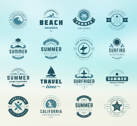 paradise beach: Summer holidays labels design elements and typography set. Retro and vintage templates. Badges, Posters, Emblems, Apparel. Vector set. Beach vacation, party, travel, tropical paradise, adventure.