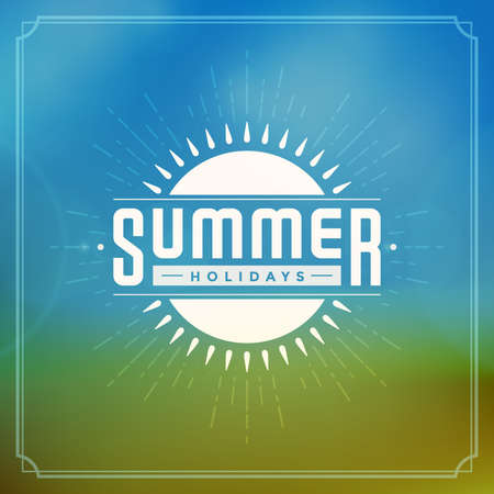 Summer holidays background. Beautiful blurred glowing bokeh light and typography message vector design. Vector
