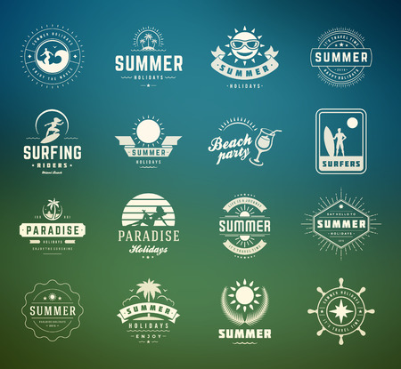 illustration journey: Summer holidays labels design elements and typography set. Retro and vintage templates. Badges, Posters, Emblems, Apparel. Vector set. Beach vacation, party, travel, tropical paradise, adventure.
