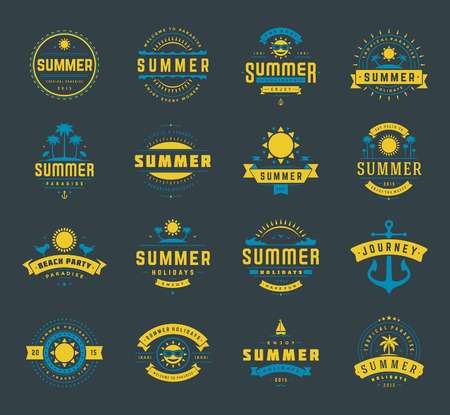 islands: Summer holidays labels design elements and typography set. Retro and vintage templates. Badges, Posters, Emblems, Apparel. Vector set. Beach vacation, party, travel, tropical paradise, adventure.