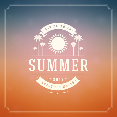bokeh message: Summer holidays background. Beautiful blurred glowing bokeh light and typography message vector design.