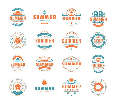 Summer holidays design elements and typography set. Retro and vintage templates. Labels, Badges, Posters, T-shirts, Apparel. Vector set. Beach vacation, party, travel, tropical paradise, adventure. Illusztráció